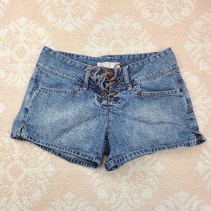 Vintage Buckle BKE Lace Up Aloha Denim Shorts